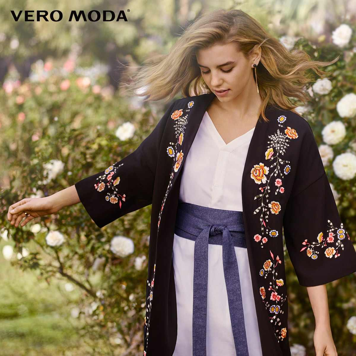 Vero Moda floral embroidered drop shoulder sleeve chiffon jacket |318121549