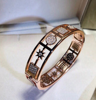 hot wide Famous Brand party jewelry rose gold geometric bracelet round square 8 point star bangle women accessories