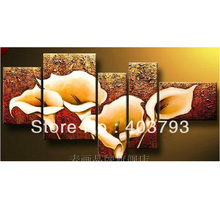 MODERN ABSTRACT HUGE LARGE CANVAS ART OIL PAINTING lily  flower for wedding decoration free shipping