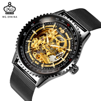 ORKINA Male Watches Skeleton Auto Mechanical Men Wrist Watch Mesh Band Heren Uhr Automatic Wristwatches