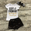 "2017 Eyelash Summer Girls Boutique Clothing Black Sequins ""got it from my mom"" Short Outfit with matching Bow Set"