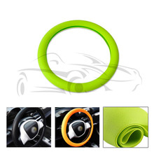 Car Auto Leather Texture Soft Silicone Steering Wheel Cover 36cm 37cm 38cm 39cm 40cm Green For VW For Audi For Ford For Honda