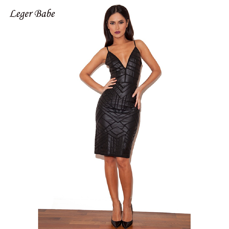 Leger Babe Sexy V-Neck Sleeveless Fashion Bodycon Bandage Dress Black Gold Pink Sliver Metallic Foil Print Glitter Women Dresses