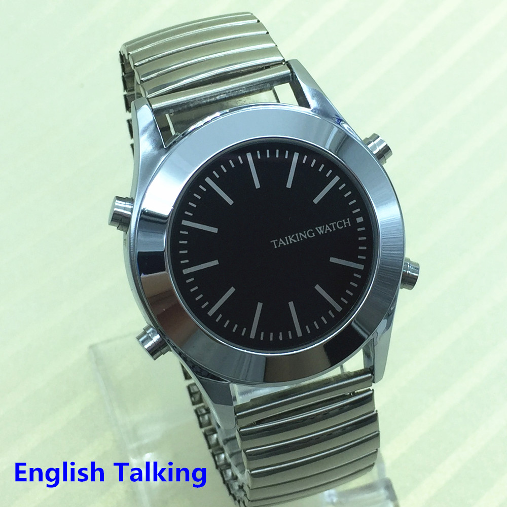 English Talking Watch For Blind People Or Visually Impaired With Alarm Quartz Watch In Stock