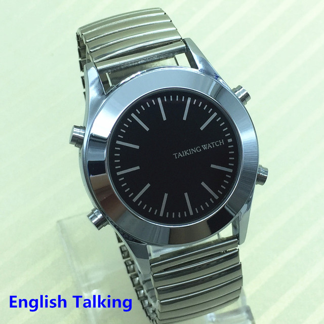 English Talking Watch for Blind People or Visually Impaired with Alarm Quartz Wa