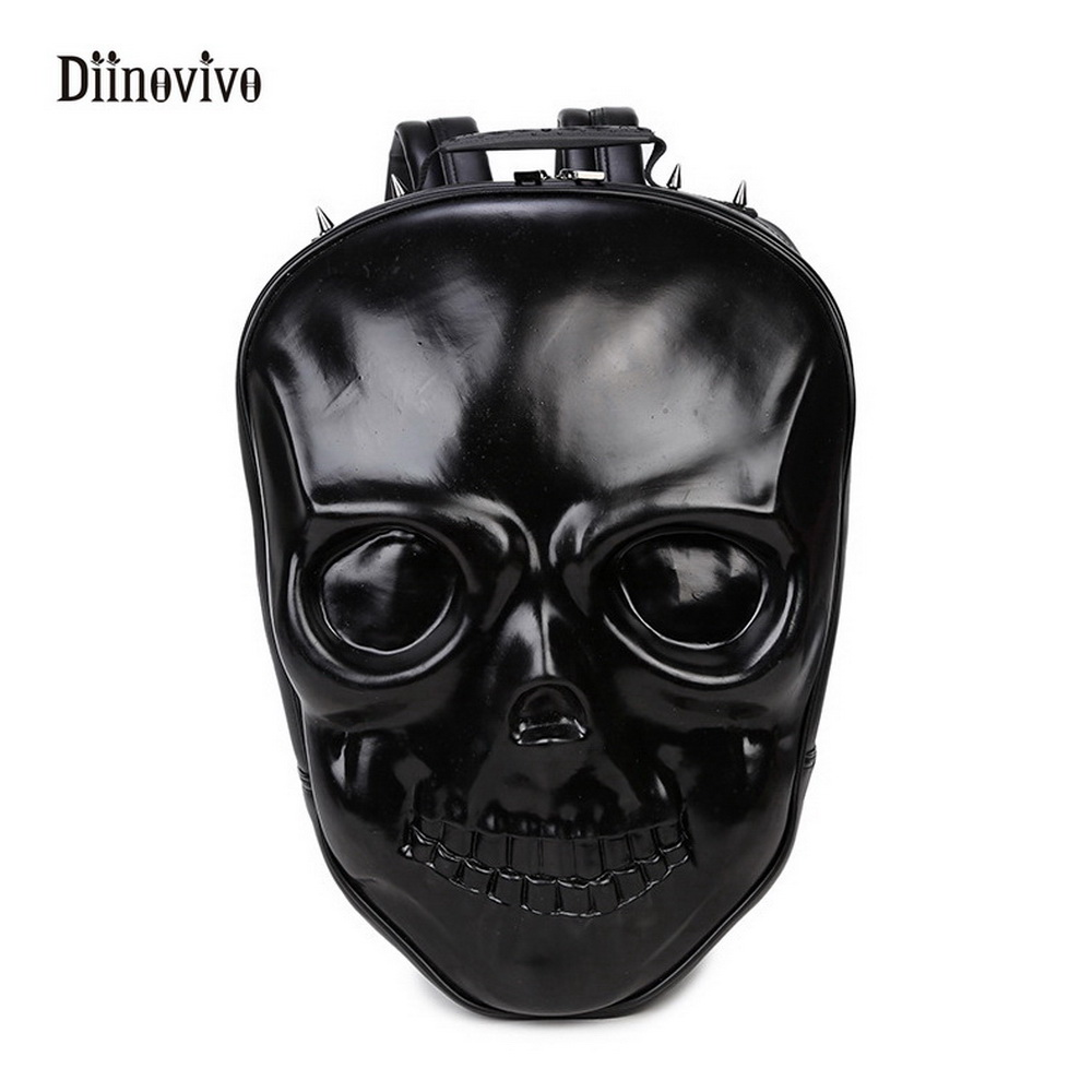 Diinovivo New Travel Backpack Rock Style Women Female Skull Leisure Student School Bags Soft Pu Leather Girls Rivet Bag Whdv0129