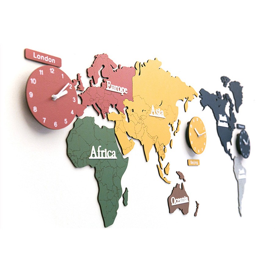 World Map Wall Clock Modern Design For Living Room Wood 3d Stickers