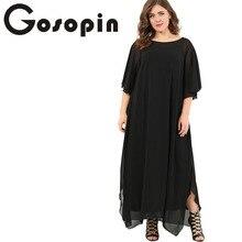 Gosopin Plus Size Casual Women Dress Autumn Winter Ruffle Chiffon Maxi Dress Slit Half Sleeves Long Dresses Red 2018 LC610322