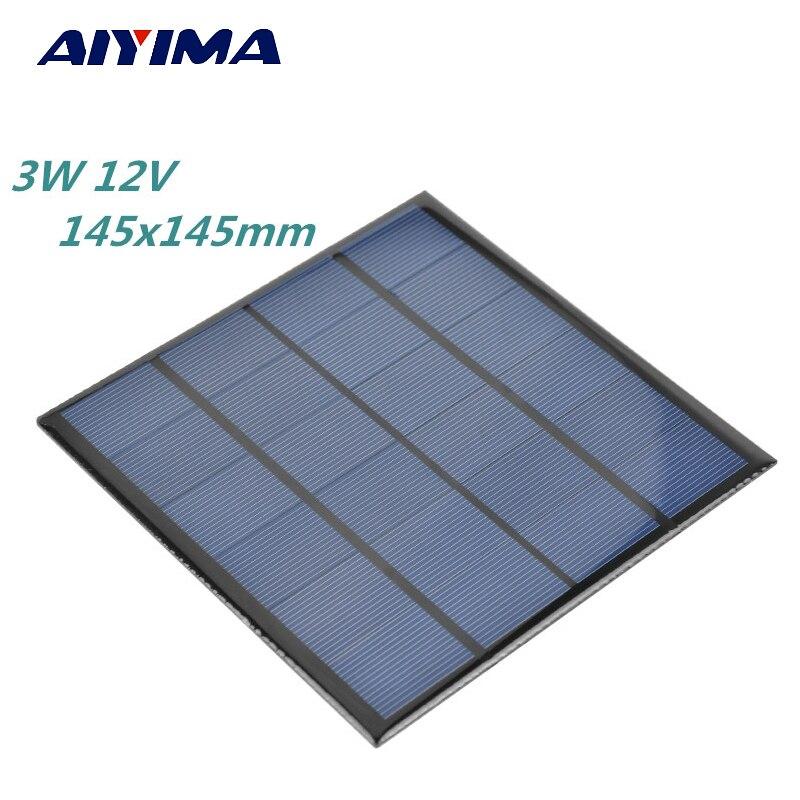 Aiyima 3 w 12 v China Painel Solar Flexível Placa de Silício Policristalino de Células Solares DIY 145x145mm Painel Solars carregador