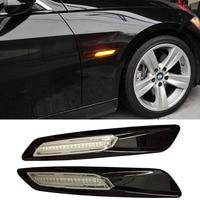 A Set Black Trim LED Fender Side Marker Light Turn Signal Lamp For BMW E60 E82