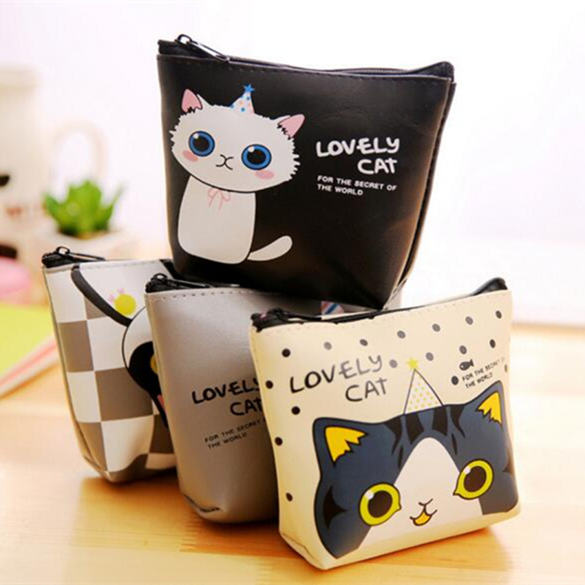 M075 Cute Women Purses Cartoon Cat  Elephant Zebra Animal Paradise Jelly Glue Quality Pu Leather Coin Purse Wallet Card Bag cat paradise vol 1 v 1