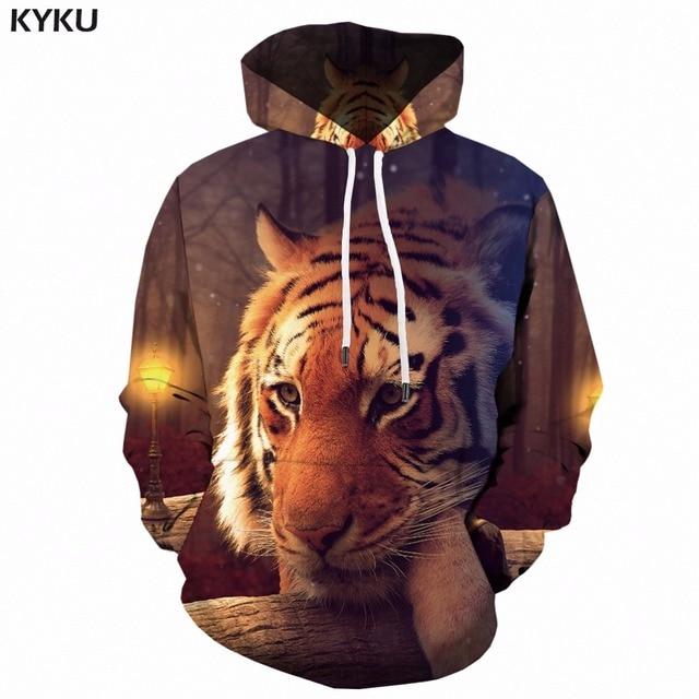 KYKU Tiger Hoodie Men 3d Hoodies Animal Print Sweatshirt Hooded Punk Rock  Clothes Anime Hip Hop Mens Clothing Funny Streetwear 4d102c236