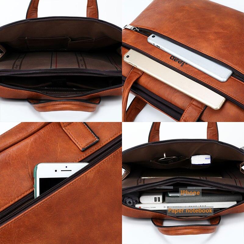 JEEP BULUO famosa marca 2 uds conjunto de bolsos de maletín para hombres bolsos de mano para hombres de negocios de moda bolsa de mensajero 14 'Laptop bolsa 3105/8888 - 4