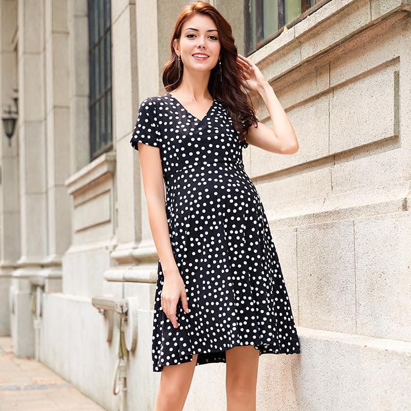 Pregnant Woman Summer Fashion Star Style Black Dots Nursing Dress Pregnancy Clothes Outwear Knee Length V-neck Maternity Dress