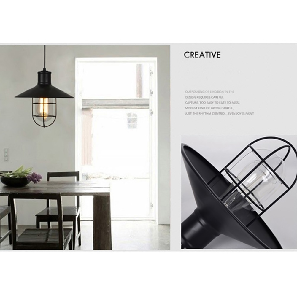 Bird Cage Design Vintage Industrial Lighting Lamps Pendant Light for Home Modern Restaurant Cafe Bar Bathroom Black Droplight rattan wicker pendant lights kitchen restaurant vintage bird cage lampshade classical chinese light modern design decoration