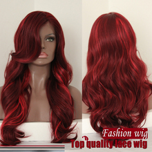 Free shipping hightlight color two tone ombre heat resistant wavy synthetic lace front wig best quality fiber you can heat it