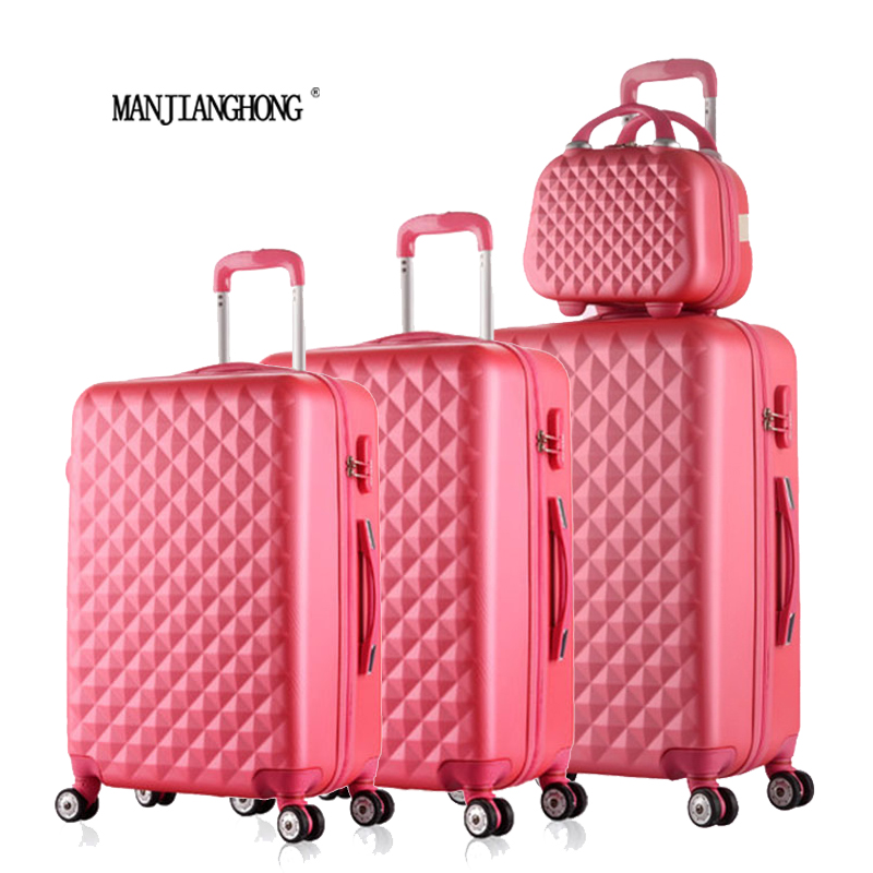 122024284Piece Diamond lines Trolley suitcase/travell case luggage/Pull Rod trunk rolling spinner wheels/ABS boarding bag 20 inch high quality trolley suitcase luggage travel case pull rod trunk rolling spinner wheels abs pc boarding box cosmetic bag