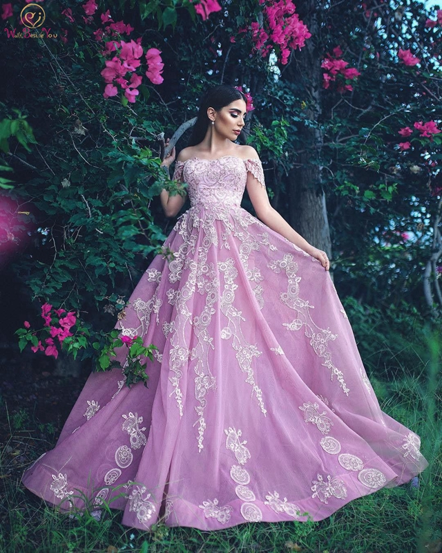 Pink Evening Dress Lace Off Shoulder Short Sleeve A Line Boat Neck Sweep Train Appliques Lace Backless Prom Gown Candy Color