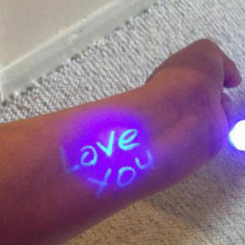 1Pcs Funny Magic Purple 2 In 1 UV Graffiti Black Light Combo Creative Stationery Invisible Marker Pen Highlighter Ink Pen