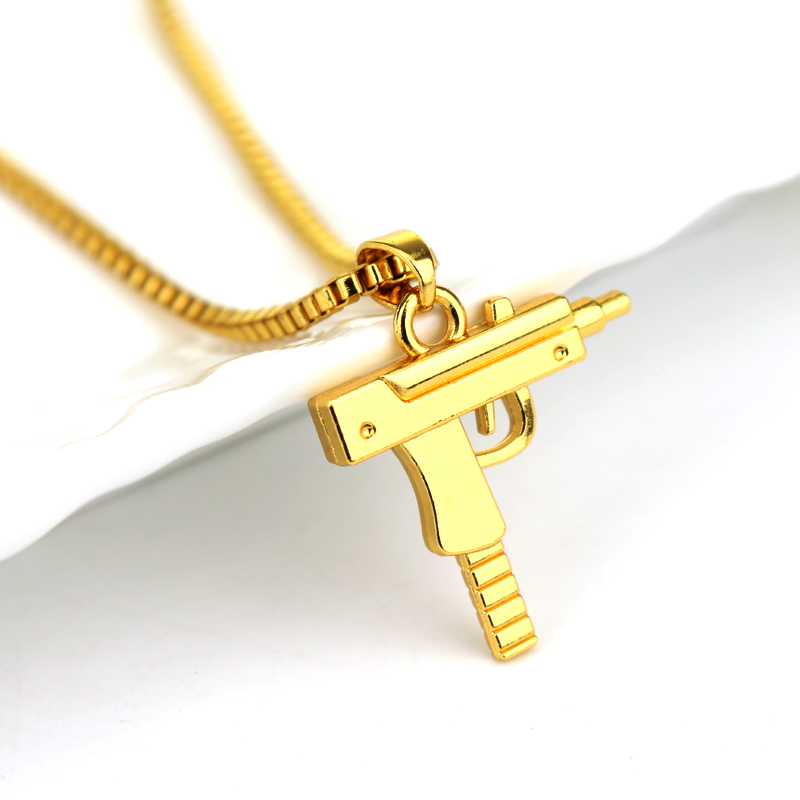 Hot Gold Plated Hip Hop Long Necklace Fashion Pistol Pendant