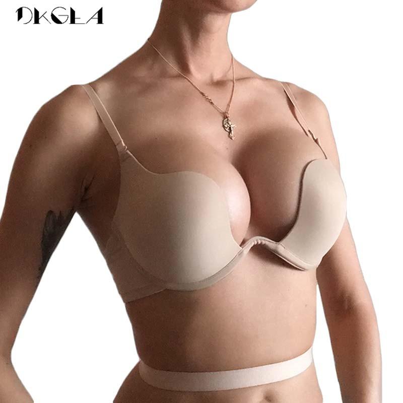 אופנה ללא משענת חזיית Lnvisible הלבשה תחתונה C D כוס עמוק U סקסי חזיית U לצלול חצי כוס חזייה שחור נשים תחתונים לדחוף את חזיות