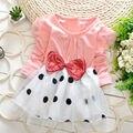 As Meninas da criança Do Bebê Vestido Meninas Vestido de Verão Princesa Bolha Bowknot Dot Tule Vestidos de Trajes