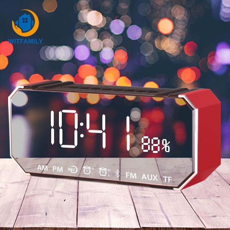 LED miroir réveil avec Radio FM sans fil Bluetooth haut-parleur numérique Snooze Table horloge lecteur de musique pour bureau chambre horloge