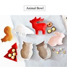 1PC Animal Series Cartoon Creative Ceramic Tableware Animal Shape Bowl Snack Bowl Fruit Salad Bowl Candy Bowl Ceramic Cutlery
