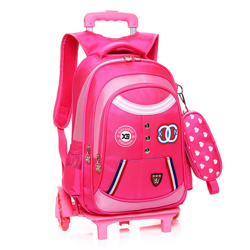 Removable Children School Bags with 2 6 Wheels Child Waterproof Trolley Backpack Kids Wheeled Bags for