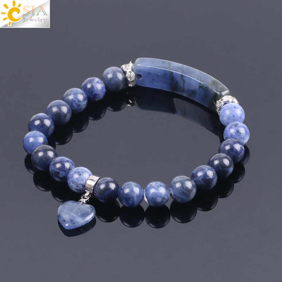 CSJA Natural Stone Sodalite Bracelets for Women Men Love Heart Blue White Dot Beads Stretch Healing Buddhist Prayer Bangles F109