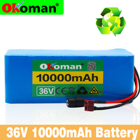 Okoman 36V 10S4P 10Ah 500W high power capacity 42V 18650 lithium battery pack 10000mAh electric bicycle bicycle scooter BMS