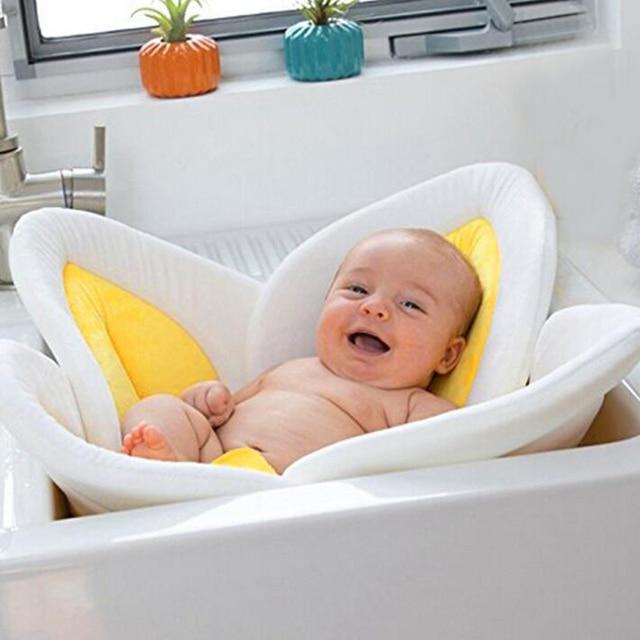 Tapis de bain bébé éponge pliant Fleur