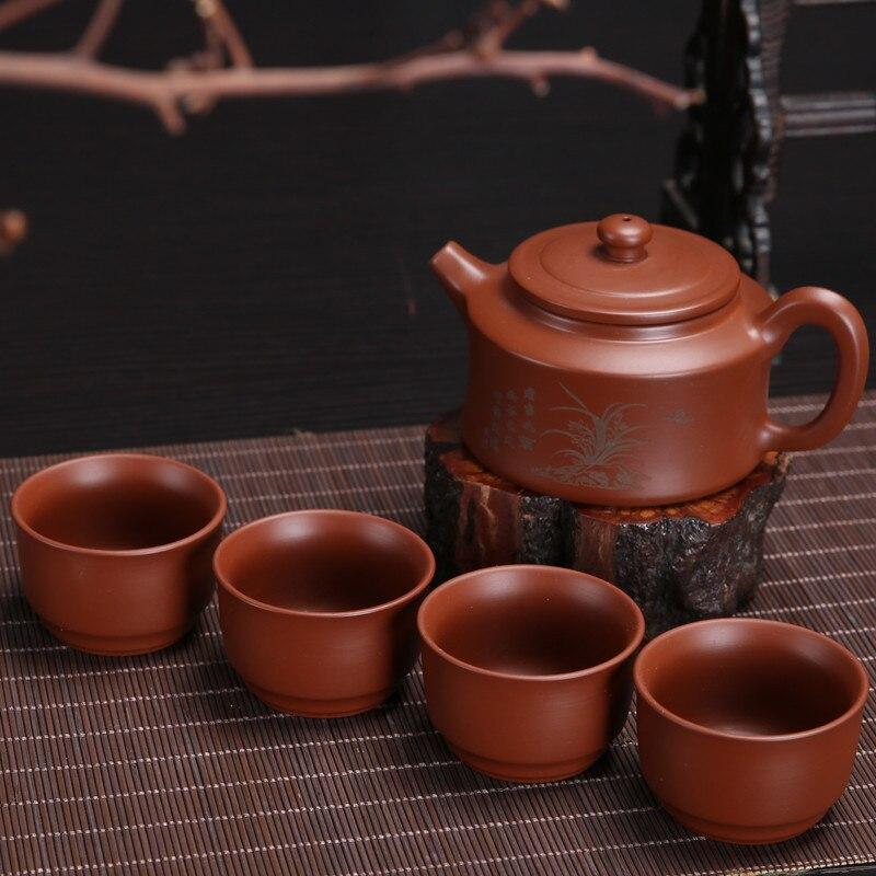 Premium 5pcs Purple Clay Teaset,200ml teapot+4pcs teapot,Yixing Zisha Boccaro Kongfu Pottery Filter Infuser Collection Arts gift