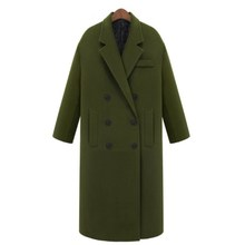 Wool coat women 2016 double breasted long coats thick big sizes jacket coat women's autumn winter navy blue army green