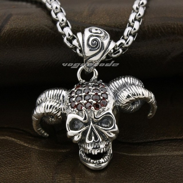 Devil Goat Skull Red CZ Agate Head 925 Sterling Silver Pendant 8P014 (Necklace 24inch)