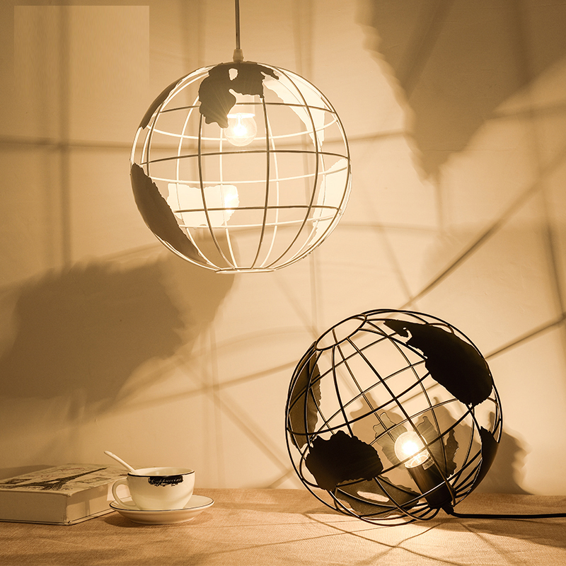 Nordic LED Globe Pendant Lamp Iron Black / White Lamp Cafe Living Room Bar Office Ceiling Children Ceiling Lamp Bedroom