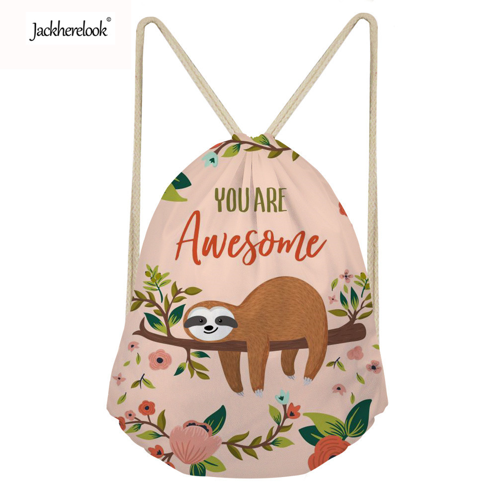 Jackherelook Small Drawstring Bags For Women Casual Cute Animal Sloth Pattern Ladies Sport Travel Cinch Backpack Storage Bolsas