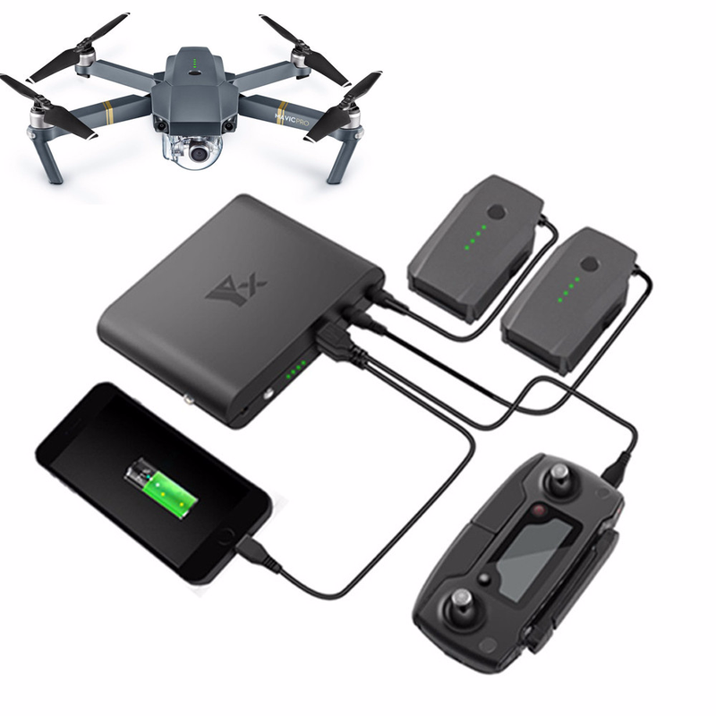 Mavic Pro Accessories Power Bank Charger Bank Portable Source Charging for DJI Mavic Pro Remote Controller Battery Phone portable 0 6 lcd 4800mah dual usb power source bank w charging adapters for iphone more black