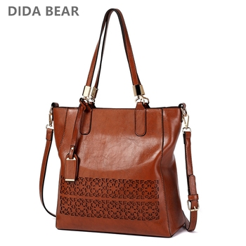 DIDA BEAR Luxury Handbags Women Bags Designer New Fashion Leather handbags Casual Messenger Bag Large Hollow Out Shoulder Bag