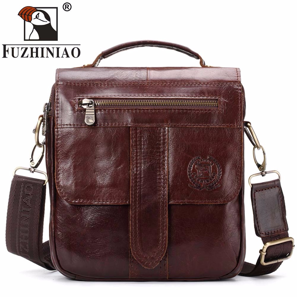 FUZHINIAO 2018 New Arrival Famous Brand Business Cowhide Men Messenger Bag Strap Small Genuine Leather Male Travel Shoulder Bags padieoe men s genuine leather briefcase famous brand business cowhide leather men messenger bag casual handbags shoulder bags