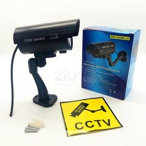 Image 5 - 4 قطعة كاميرا وهمية مقاوم للماء وهمية في الهواء الطلق داخلي رصاصة الأمن CCTV كاميرا مراقبة وامض الأحمر LED شحن مجاني