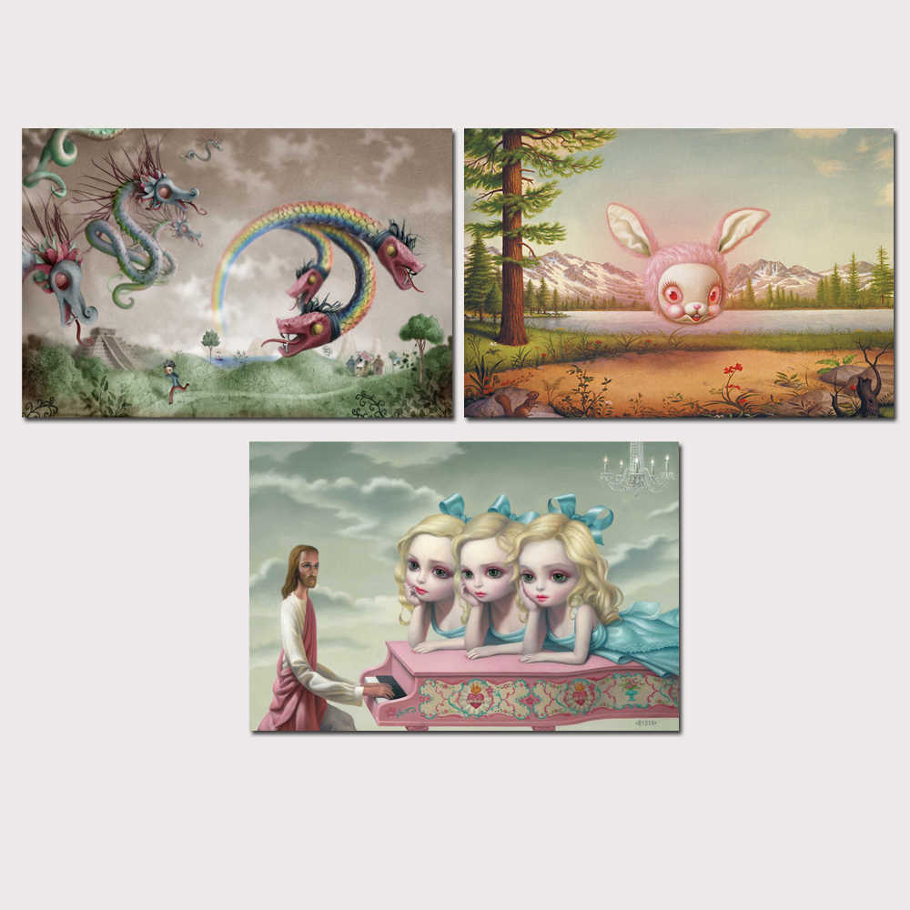 Mark Ryden Pop Surrealism 1 Panel Abstract Wall Art Oil Painting Poster Canvas Painting Print for Living Room Home Decor