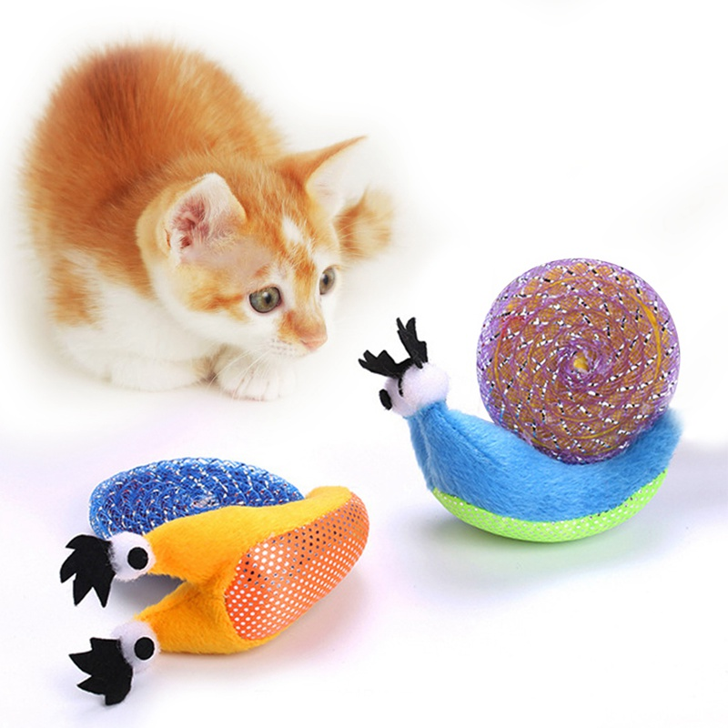 Pet Cat Toy Cute Snail Shape Plush Scratch Toys For Cats Kittens Interactive Toy Grinding Claw Cat Appease Toys Cat Supplies