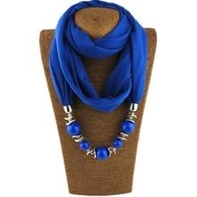 2018 Fashion 14 Colors Neckerchief Untique Cotton Scarf Necklaces Beads Statement Maxi Necklace Women Muffler Neckerchief Bijoux