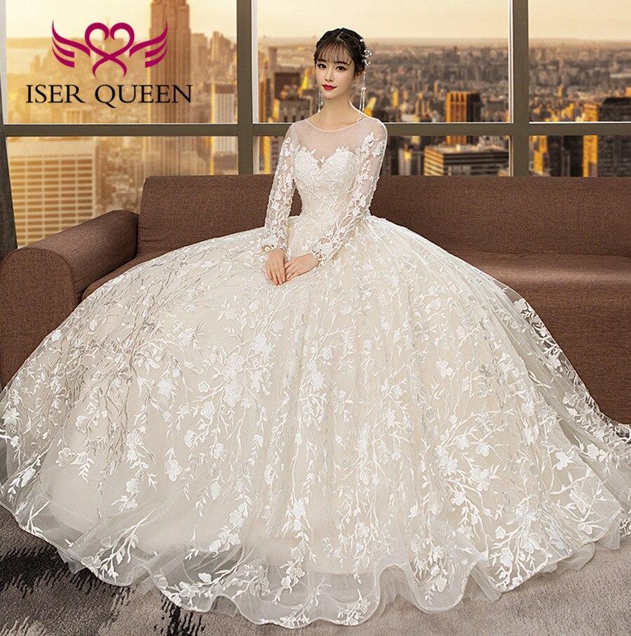 Sheer Neck Long Sleeve Arab Wedding Dress 2019 New Korean Fashion Long Sleeve Illusion Robe De Mariee Bride Dress WX0117