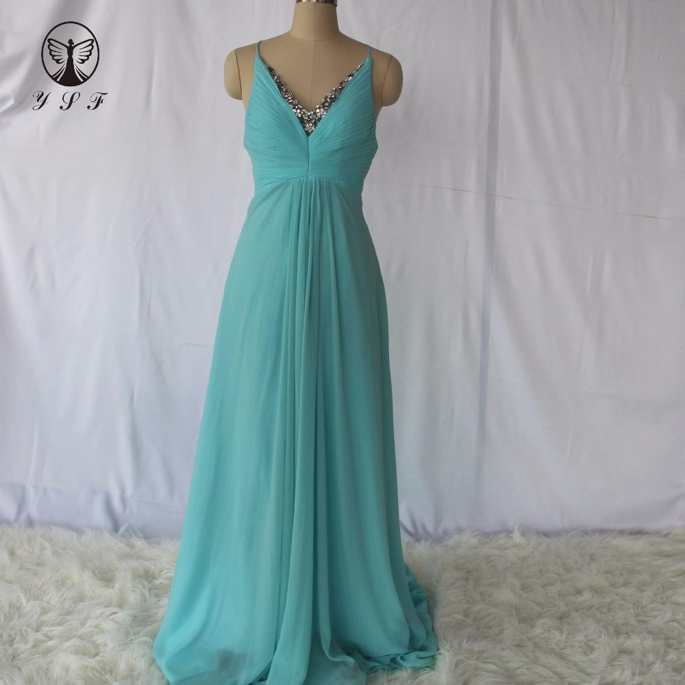 Simple but Elegant Spaghetti Strap V Neck Beaded Sleeveless Criss Cross Back Mint Blue Bridesmaid Dresses 2017