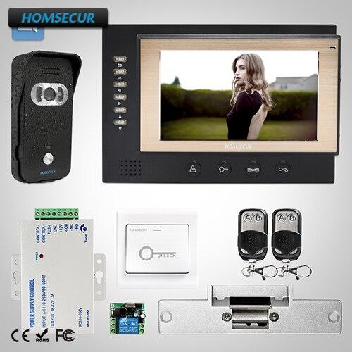 HOMSECUR 7 Wired Video&Audio Home Intercom+Dual-way Intercom for Home Security: TC021-B Camera (Black)+TM701R-B Monitor (Black)