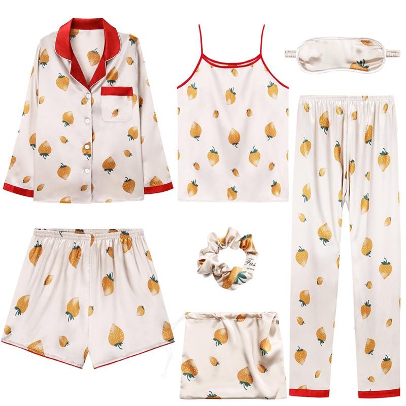 Autumn Pajamas for women 7 pcs satin silk female pajamas set sexy sling long sleeve pants waist lounge home suit sleepwear