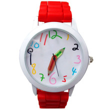 Brand Fashion Jelly Silicone Pencil Watch Women Wristwatch Casual Candy Color Watch Relogio Feminino Drop Shipping P000881