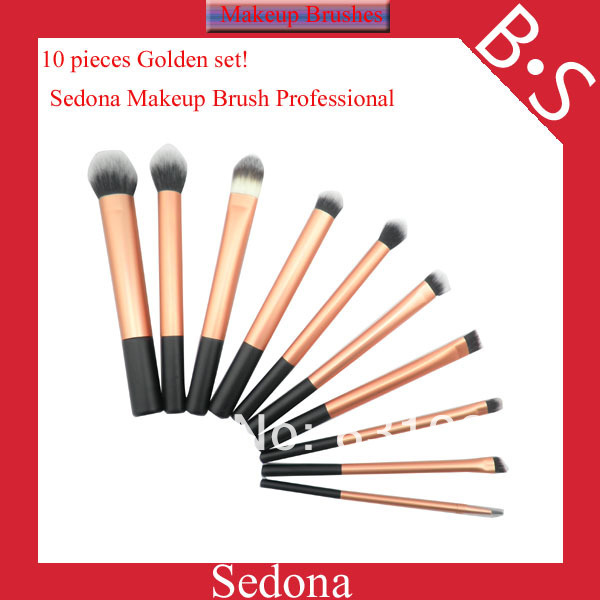 Luxury 10 pieces / set super soft hair Golded makeup brush kit  for make up,Eye Face Cosmetic made by Sedona shop